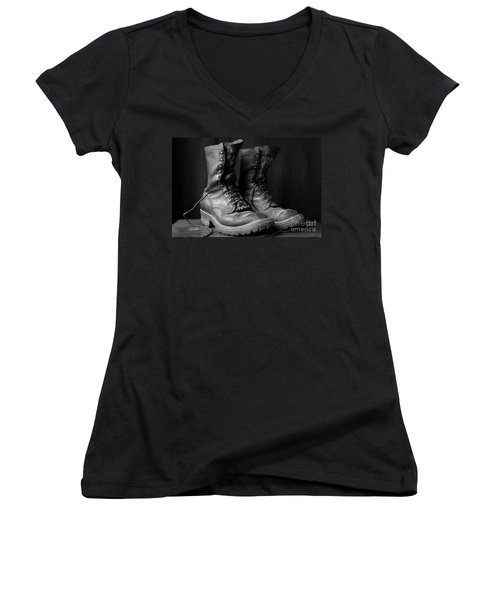 Wildland Fire Boots Still Life Women's V-Neck (Athletic Fit)