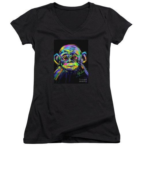 Wildlife Baby Chimp Women's V-Neck