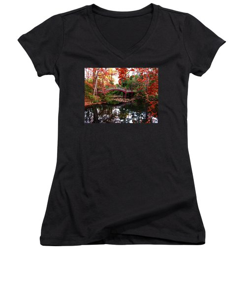 William And Mary College  Crim Dell Bridge Women's V-Neck T-Shirt (Junior Cut) by Jacqueline M Lewis