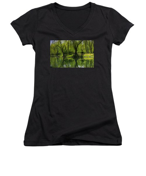 Willows Weep Into Their Reflection  Women's V-Neck T-Shirt