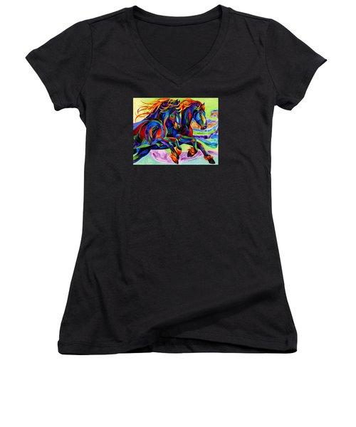 Wind Dancers Women's V-Neck T-Shirt (Junior Cut) by Sherry Shipley