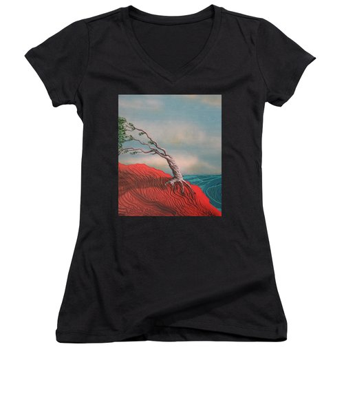 Wind Swept Tree Women's V-Neck T-Shirt