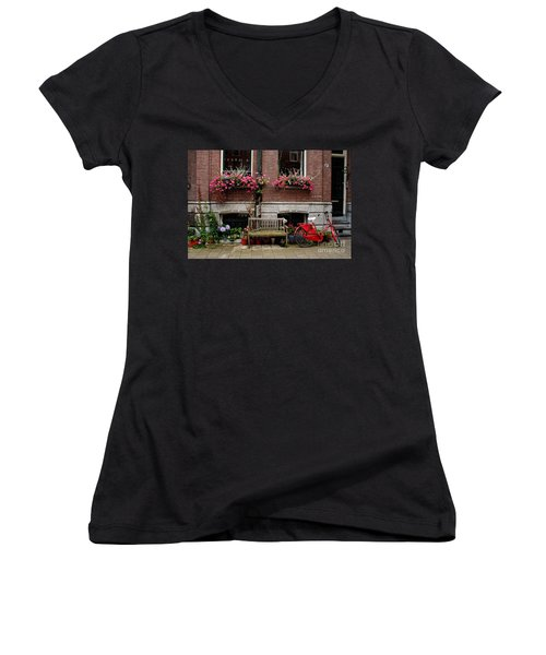 Window Box Bicycle And Bench  -- Amsterdam Women's V-Neck (Athletic Fit)