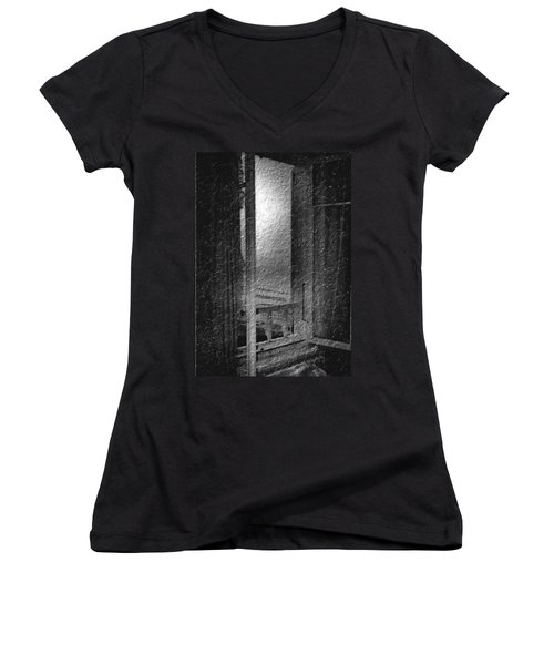 Window Ocean View Black And White Digital Painting Women's V-Neck T-Shirt (Junior Cut) by Cathy Anderson
