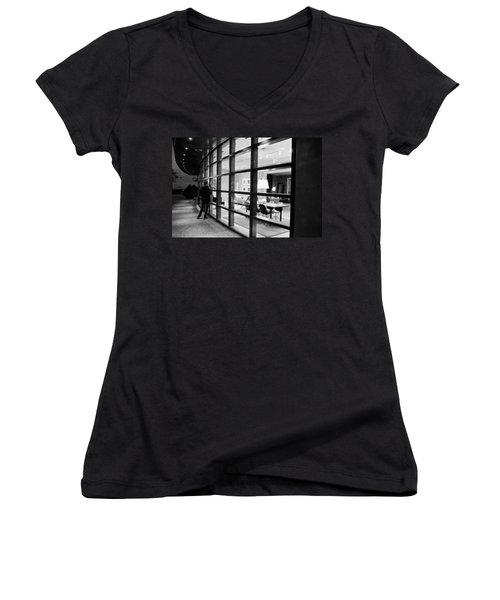 Window Shopping In The Dark Women's V-Neck T-Shirt (Junior Cut) by Melinda Ledsome