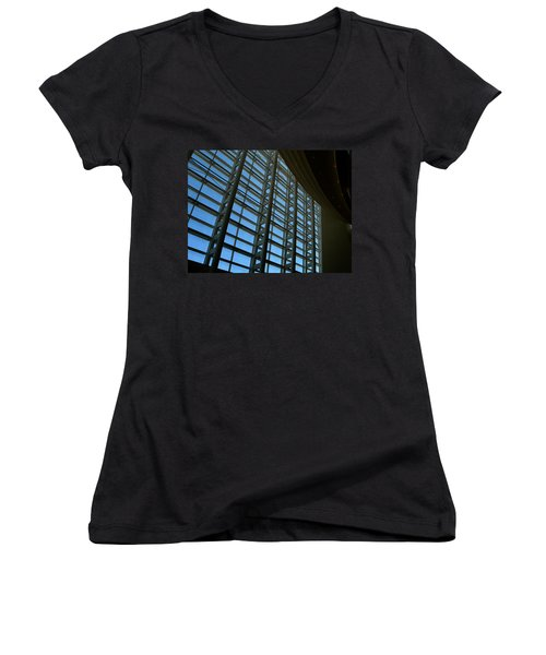 Window Wall At The Adrienne Arsht Center Women's V-Neck T-Shirt