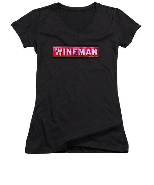 Wineman Neon Sign Women's V-Neck (Athletic Fit)