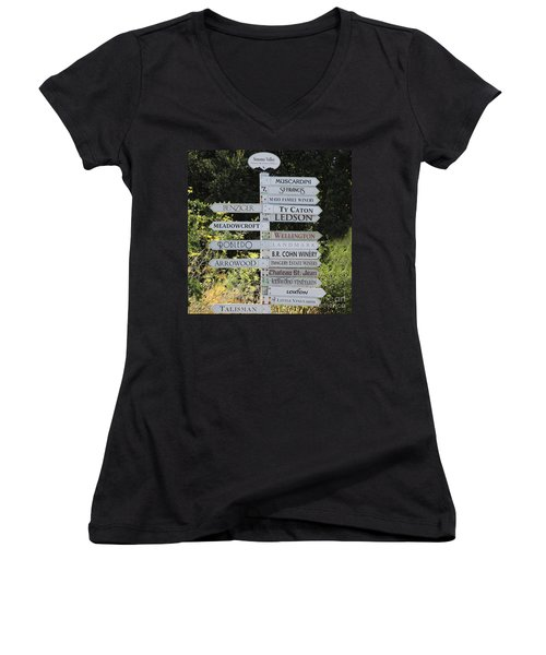 Winery Street Sign In The Sonoma California Wine Country 5d24601 Square Women's V-Neck
