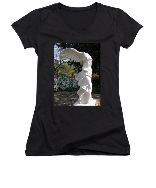 Winged Victory Nike Women's V-Neck T-Shirt (Junior Cut) by Caryl J Bohn