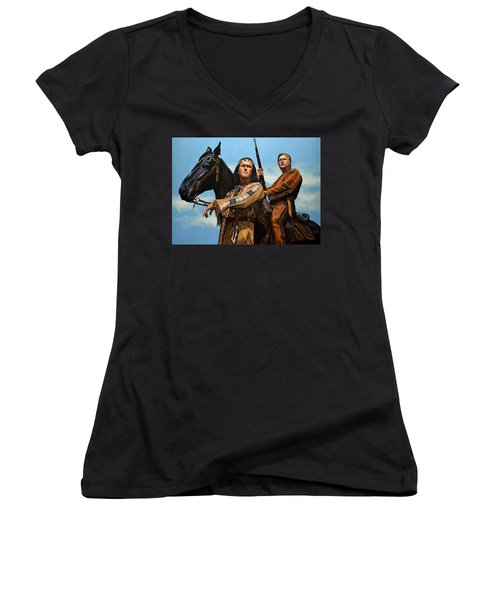 Winnetou And Old Shatterhand Women's V-Neck (Athletic Fit)