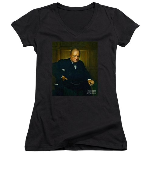 Winston Churchill Women's V-Neck T-Shirt (Junior Cut) by Adam Asar