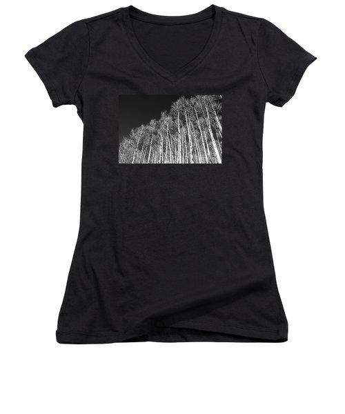 Women's V-Neck T-Shirt (Junior Cut) featuring the photograph Winter Aspens by Roselynne Broussard