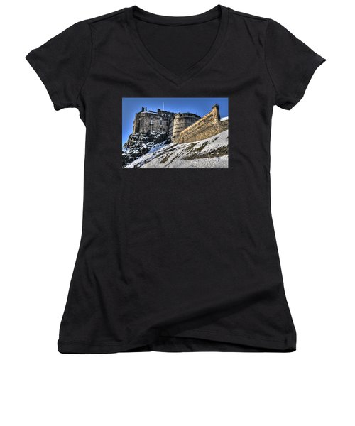 Winter At Edinburgh Castle Women's V-Neck (Athletic Fit)