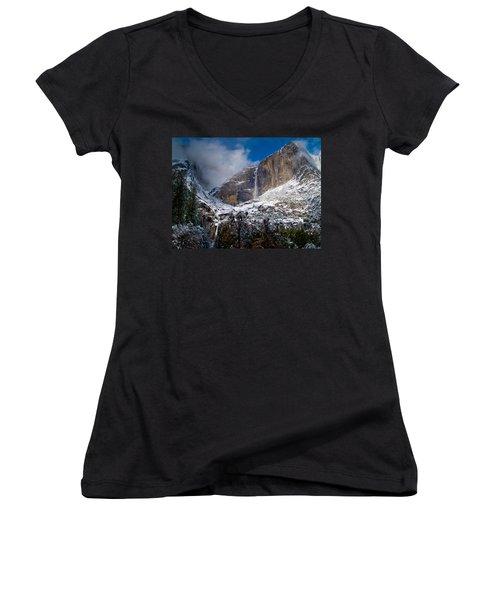 Winter At Yosemite Falls Women's V-Neck T-Shirt (Junior Cut) by Bill Gallagher