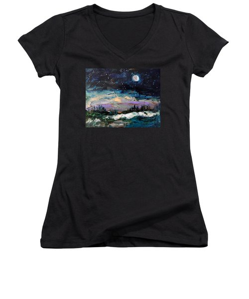 Winter Eclipse Women's V-Neck T-Shirt