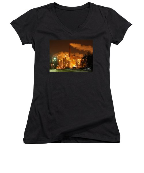 Winter Night At Sunila Pulp Mill Women's V-Neck (Athletic Fit)