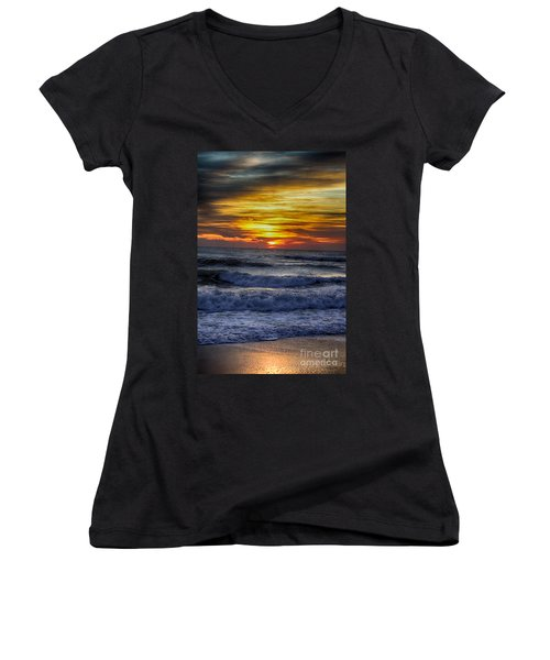 Winter North Carolina Sunrise Women's V-Neck T-Shirt (Junior Cut) by Tony Cooper