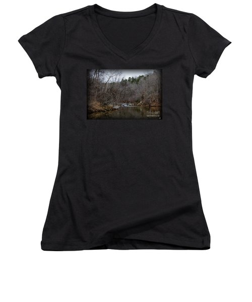 Winter On The Eno River At Fews Ford Women's V-Neck T-Shirt
