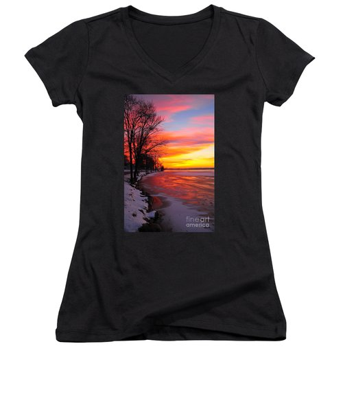 Women's V-Neck T-Shirt (Junior Cut) featuring the photograph Winter Sunrise On Lake Cadillac by Terri Gostola