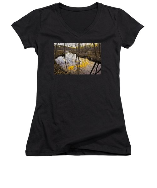 Women's V-Neck T-Shirt (Junior Cut) featuring the photograph Winter Sunset At Williston Mill by Brian Wallace