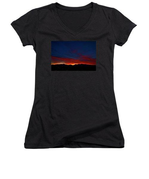 Winter Sunset Women's V-Neck T-Shirt (Junior Cut) by Jeremy Rhoades