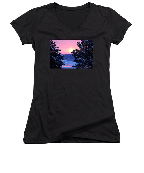 Women's V-Neck T-Shirt (Junior Cut) featuring the photograph Winter's Sunrise by Elizabeth Winter