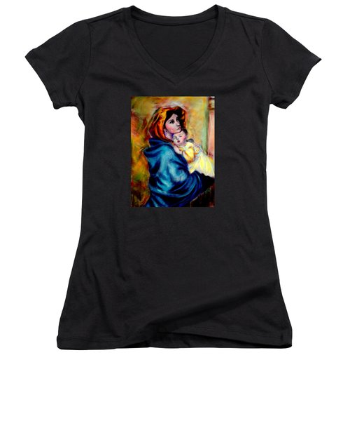 Mondonna Of The Street By Roberto Ferrizzi, Rendition In Pastel Antonia Citrino,  Sold.        Women's V-Neck T-Shirt
