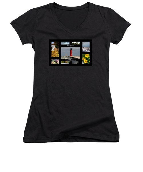 Women's V-Neck T-Shirt (Junior Cut) featuring the photograph Wisconsin For All Seasons by Kay Novy