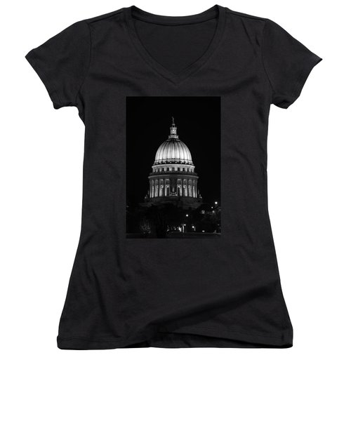 Wisconsin State Capitol Building At Night Black And White Women's V-Neck