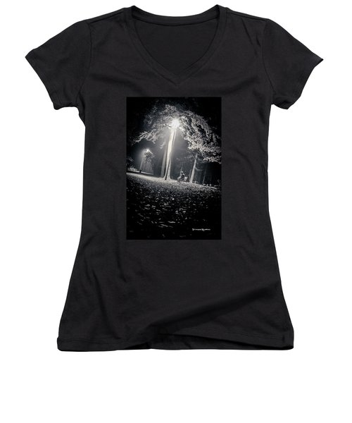 Women's V-Neck featuring the photograph Wish You Were Alone by Stwayne Keubrick