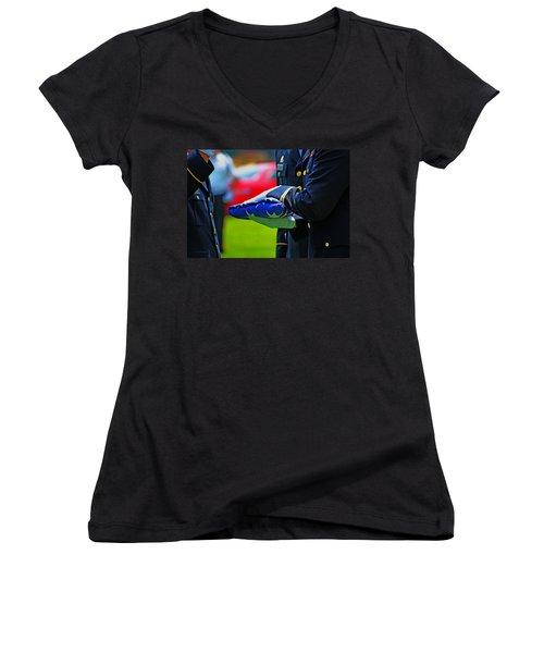 With Honor Women's V-Neck T-Shirt (Junior Cut) by Rowana Ray