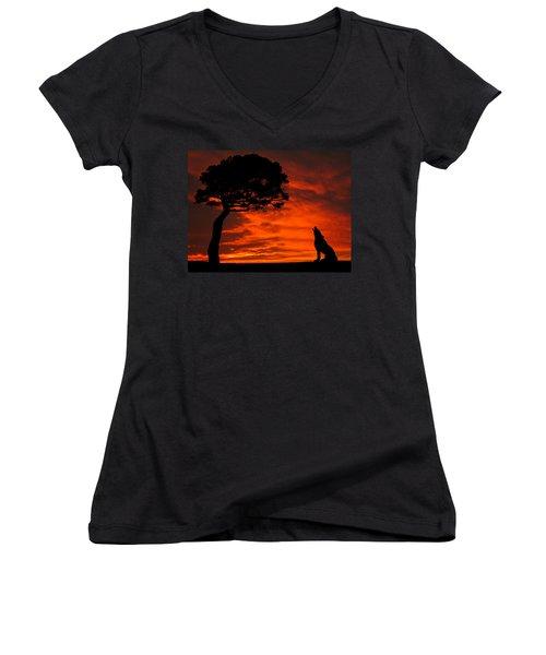 Wolf Calling For Mate Sunset Silhouette Series Women's V-Neck
