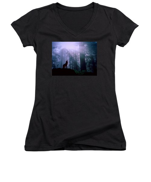 Wolf In The Woods Women's V-Neck
