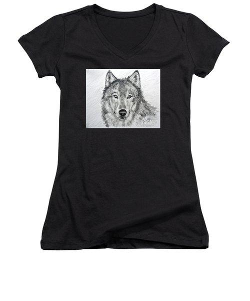 Wolf Women's V-Neck T-Shirt (Junior Cut) by Julie Brugh Riffey