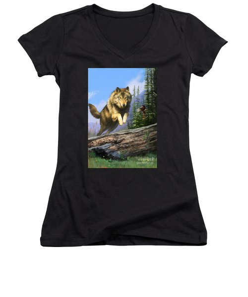 Women's V-Neck T-Shirt (Junior Cut) featuring the painting Wolf Run Indian Hunter by Rob Corsetti