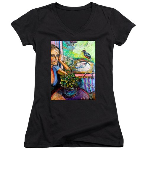 Woman And Robin Women's V-Neck (Athletic Fit)