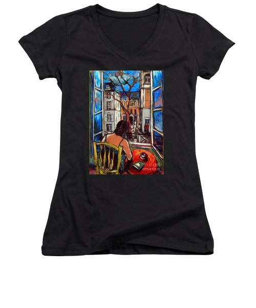 Woman At Window Women's V-Neck (Athletic Fit)