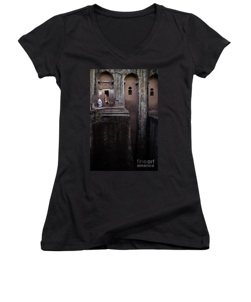 Woman In Lalibella Ethiopia Rock African Coptic Churches Women's V-Neck (Athletic Fit)