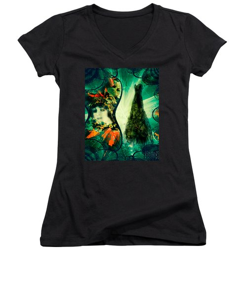 Green Mystery Montage Women's V-Neck (Athletic Fit)