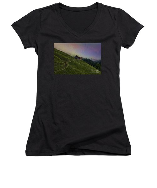 Wonderland-2 Women's V-Neck (Athletic Fit)