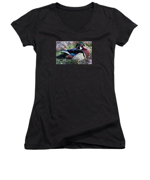 Women's V-Neck T-Shirt (Junior Cut) featuring the photograph Wood Duck by Cynthia Guinn