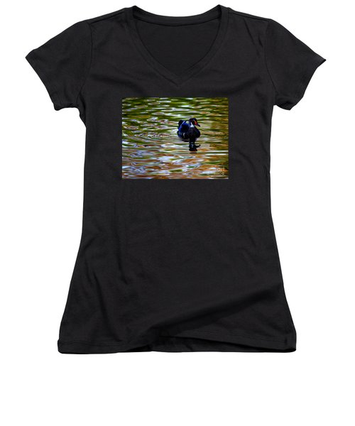 Women's V-Neck T-Shirt (Junior Cut) featuring the photograph Wood Duck Reflections by John F Tsumas
