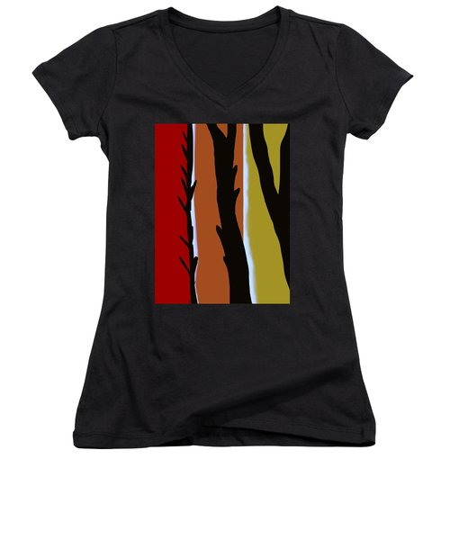 Women's V-Neck T-Shirt (Junior Cut) featuring the digital art Wood L by Christine Fournier