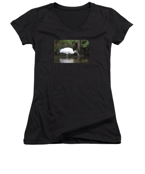 Women's V-Neck T-Shirt (Junior Cut) featuring the photograph Wood Stork In The Swamp by Christiane Schulze Art And Photography