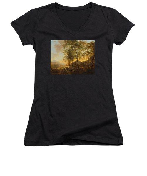 Wooded Hillside With A Vista Women's V-Neck T-Shirt (Junior Cut) by Jan Both