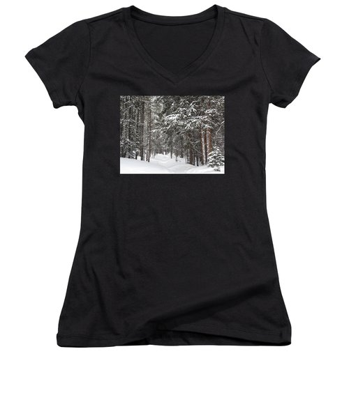 Woods In Winter Women's V-Neck T-Shirt (Junior Cut) by Eric Glaser
