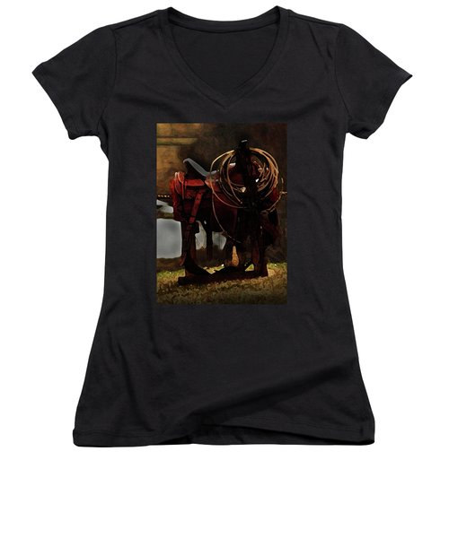 Working Man's Saddle Women's V-Neck (Athletic Fit)