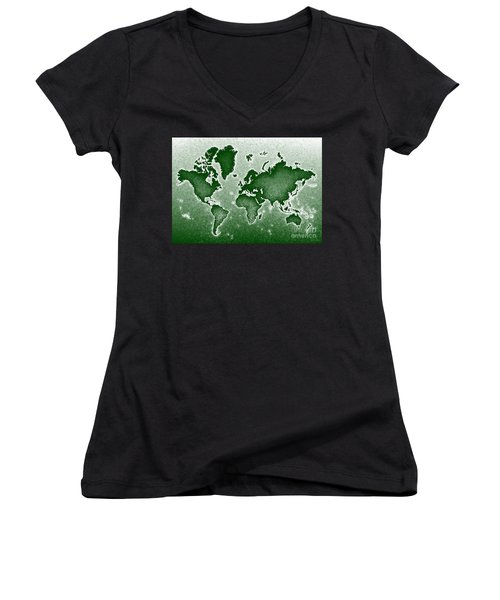 World Map Novo In Green Women's V-Neck (Athletic Fit)