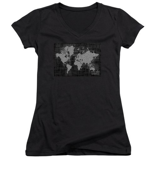 World Map Rettangoli In Black And White Women's V-Neck T-Shirt (Junior Cut) by Eleven Corners