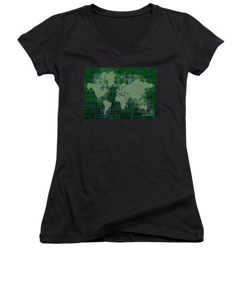 World Map Rettangoli In Green And White Women's V-Neck T-Shirt (Junior Cut) by Eleven Corners